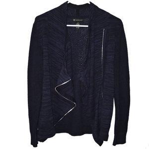 INC Asymmetric Zippered Knitted Navy Jacket M